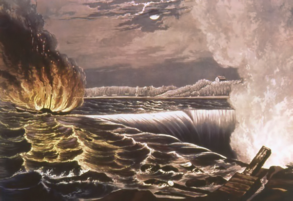 Painting: The destruction of the Caroline steamboat by fire